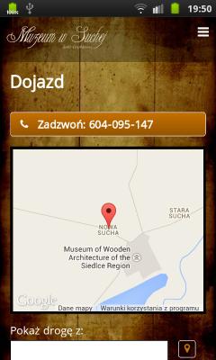 """Strona """"Dojazd"""" z mapką Google"""