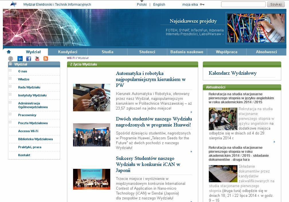 Serwis WWW wydziału EiTI PW