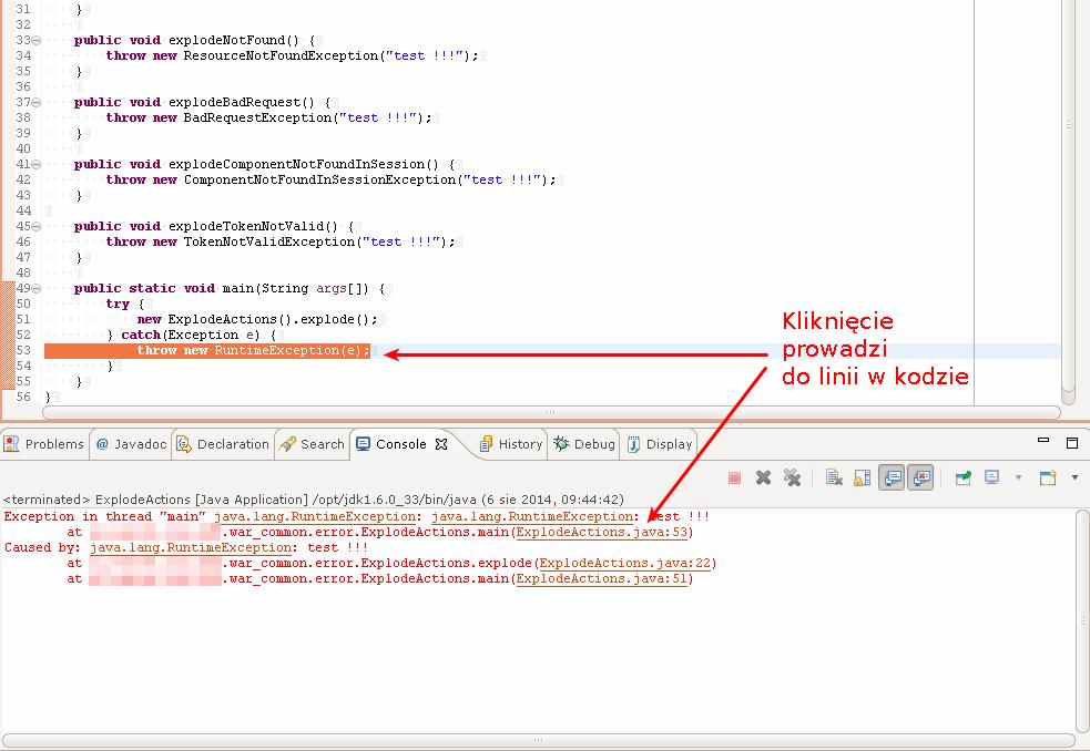 Stacktrace z aplikacji uruchomionej w Eclipse