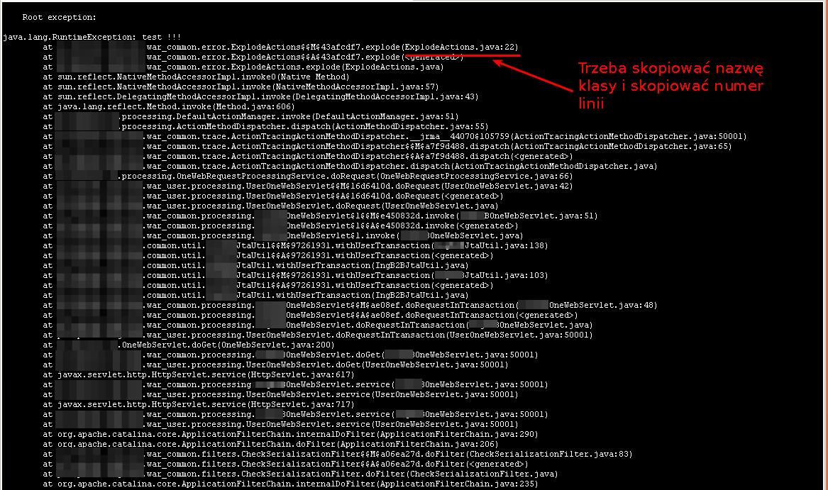 Stacktrace w logach serwera aplikacyjnego