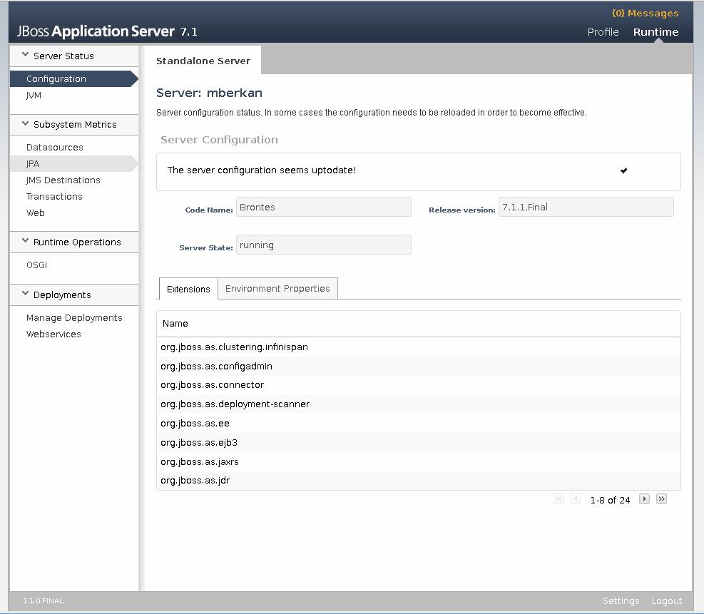 Konsola administracyjna JBoss 7