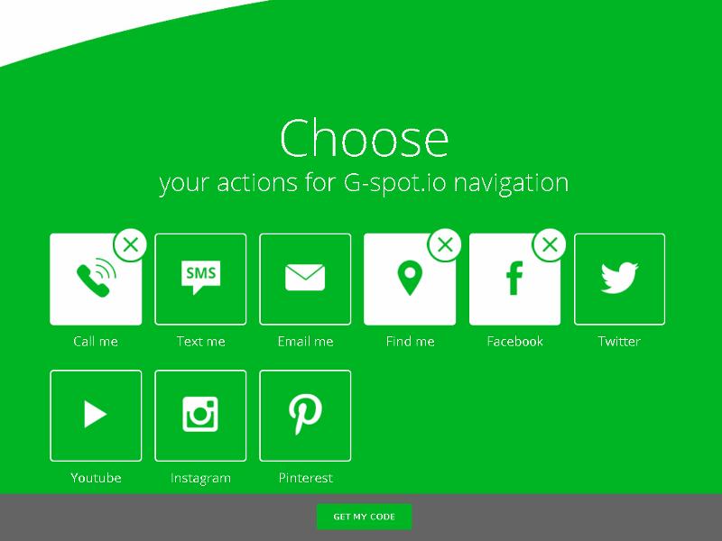 g-spot.io - wybór opcji do widgetu