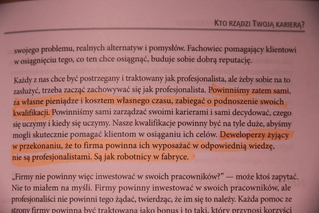"""Strona z książki """"Software craftsmanship"""""""