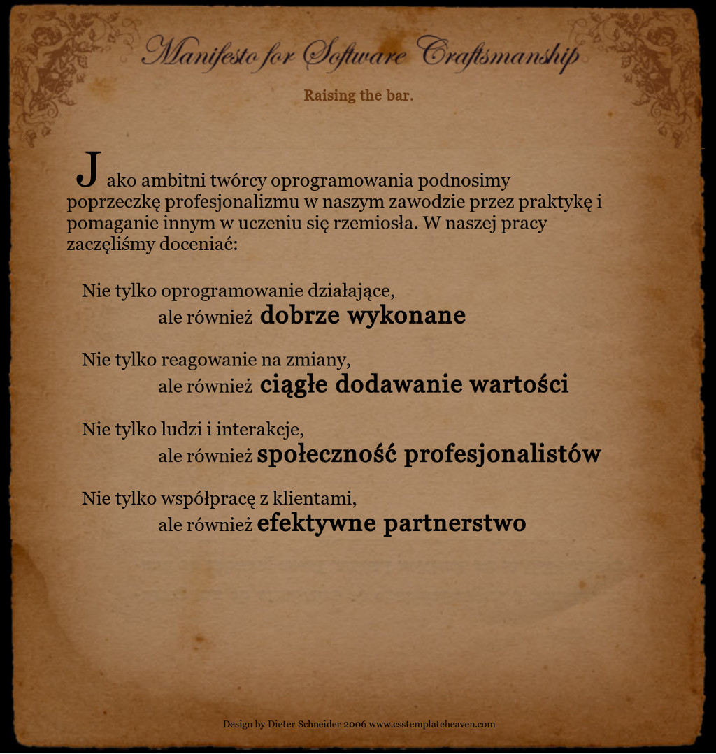 Software Caftsmanship Manifesto, 2008